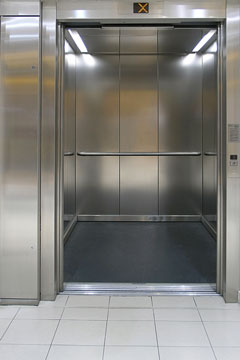 a stainless steel passenger elevator